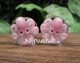 """Pink Octopus Plugs Pyrex Glass One Pair - 00g 7/16"""" 1/2"""" 9/16"""" 5/8"""" 3/4"""" 1"""" 9.5 mm 10 mm 12 mm 14 mm 16 mm 18 mm 20 mm 25 mm"""