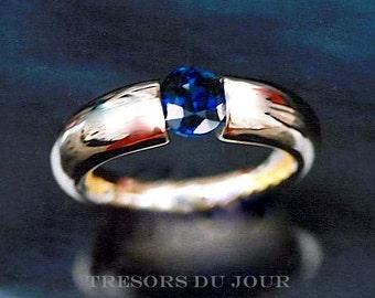 Unique ENGAGEMENT RING Unique Sapphire Engagement Ring 18kt Gold with Tension Set Sapphire Custom Engagement Ring Sapphire Engagement Ring