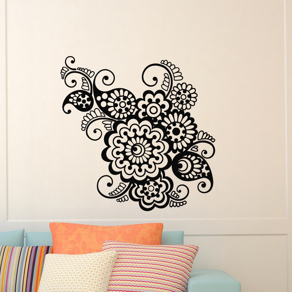 Wall Decal Vinyl Sticker Indian Pattern Yoga Flower Indie