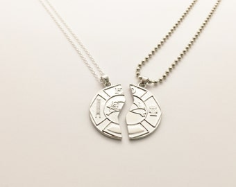 His & Her Firefighter Necklaces Maltese Cross Necklaces Firefighter Gift His and Her Firefighter Couples Necklace Firefighter Jewelry
