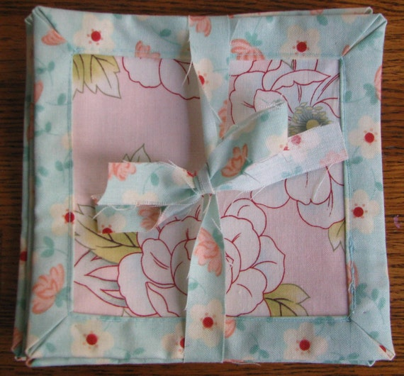 Fabric Coasters Set of 5, pretty in light blue and pink with complimenting floral prints