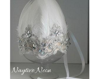 SNOW QUEEN white feather crown headdress. bridal headpiece, flowergirl, christening, dressup
