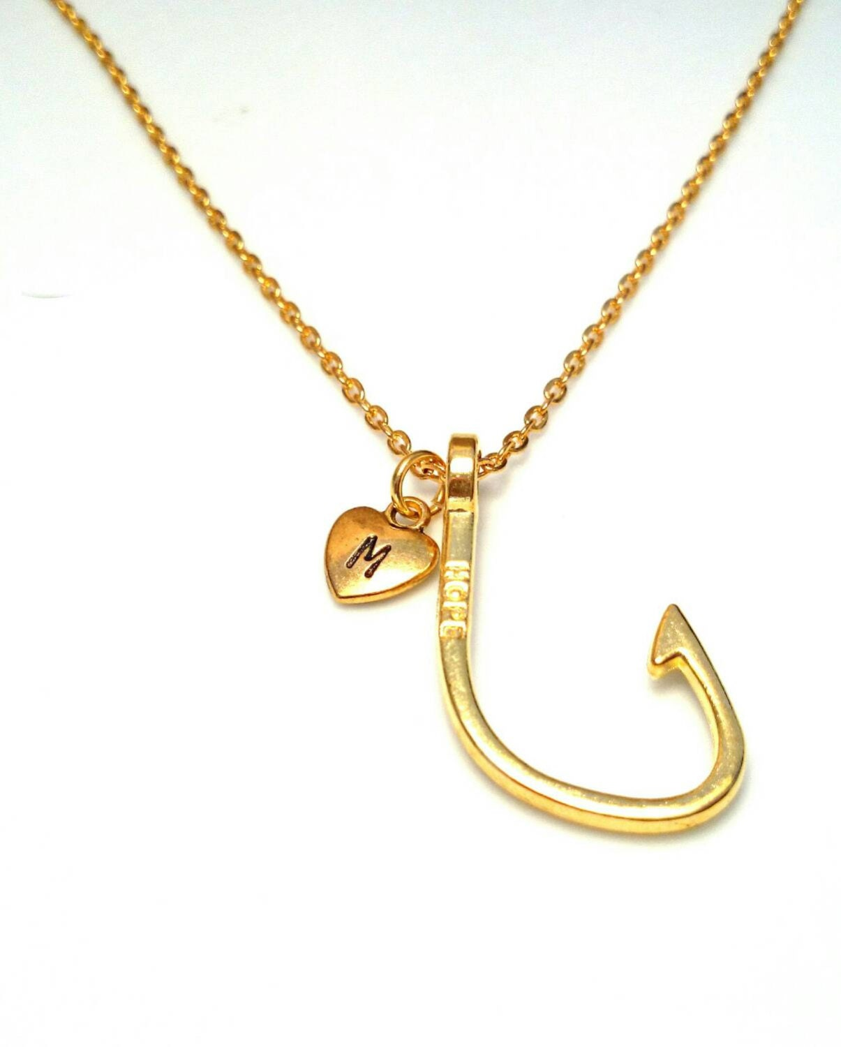 Fish hook necklace fish hook initial letter necklace gold for Fish hook necklace