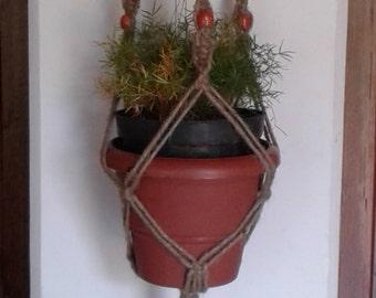 "62""Macrame hanging planter / macrame plant holder/ pot holder / indoor /outdoor/birdfeeder/natural jute plant hanger,rope plant hanger"