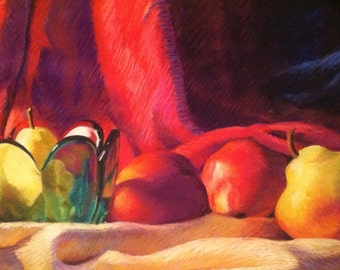 Original Still Life Painting Pastel Pears Apples
