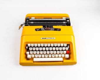 Best Quality Yellow Olivetti Lettera 35 -   Yellow Typewriter - Working Vintage Portable Manual typewriter