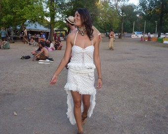 White Fairy skirt in white lace elastic fabric, adjustable to any size