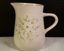 Nitto Fresh Tones Fairbanks Creamer Made in Japan Vintage Nitto Small Pitcher Pattern 1007 Small White Flowers Brown Trim Earth Tone Creamer