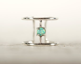 Wire Ring Turquoise Opal Sterling Silver Adjustable Ring Wrap Ring Boho Jewelry - FRI007SSS