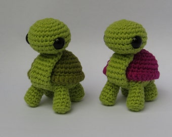 Amigurumi turtle, cute crochet animal.