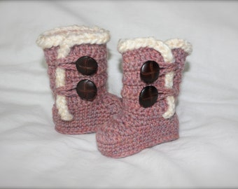Crochet Ugg Boots for baby/infant, Natural Pink
