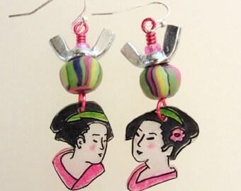 Geisha jewelry, Geisha earrings, Japanese earrings,  Japanese jewelry, Shrink plastic, Asian earrings, Geisha girl, Gift for her (#110)