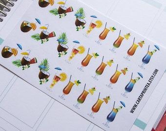 24 cocktail stickers, summer bar sticker, drink sticker, summer sticker, food stickers, life planner stickers, scrapbook reminder