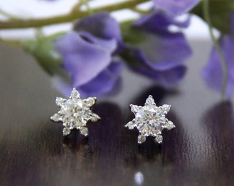 0.60 Carat Halo Stud Earrings-Brilliant Cut Diamond Simulant-Bridal-Wedding-Flower Earrings-Party Jewelry-925 Sterling Silver [1562]