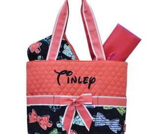 Monogram Diaper Bag Quilted Coral Bow Diaper Bag