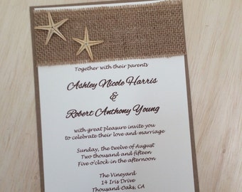 Beach wedding invitation, burlap wedding invitation, destination wedding invitation, starfish invitation, rustic beach invitation