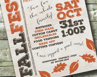 Whitewash Wood ~ Harvest Festival ~ FALL FEST ~ Community Event ~ 5x7 Invite ~ 8.5x11 Flyer ~ 11x14 Poster ~ 300 dpi Digital Invitation