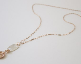 Funky Silver and Bronze Pendant, Geometric Pendant, Pendant Necklace, Small Pendant