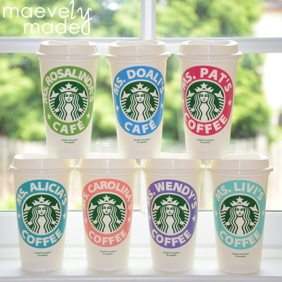 Free Birthday Starbucks ~ Teacher s gift personalized starbucks cup by maevelymade on etsy