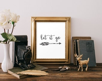 Let it go printable poster arrow wall art DIY printable instant download wall decor inspirational quote print Modern Typography BD-154