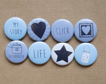 "8 Project Life Camera buttons / Photographer buttons - Set of 8 - 1.25"" Pinback Buttons, Magnets, or Flair, stocking stuffers"