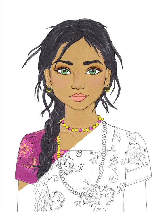 Realistic girl people coloring pages for Girl indian coloring pages