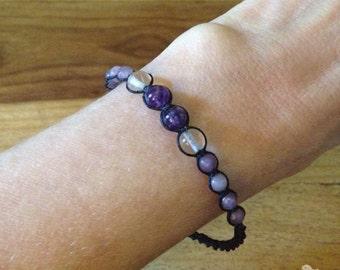 Amethyst Beaded Bracelet - Amethyst Macramé Bracelet - Purple Macramé Bracelet - Adjustable Bracelet - Purple Stacking Bracelet