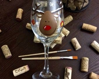 Rudolph Holiday Wine Glass