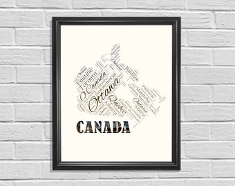 Canada Printable, Word Cloud, Map Printable, Map of Canada, Printable Art