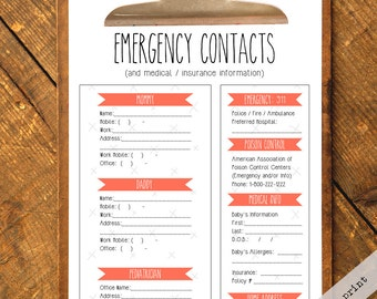 Nanny Log Emergency Contact Form (Generic Fill-In-Yourself) - Instant PDF Download