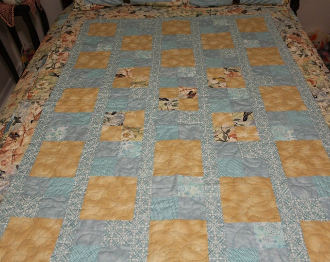 Quilt Throw  size, Blue and Gold Quilted Throw, Bird fabric quilt, made to order quilt, Handmade quilt, Bird lovers quilt