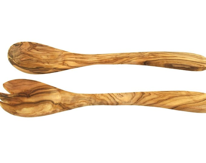 Salad tongs 30 cm olive wood solid rustic handmade unique wood