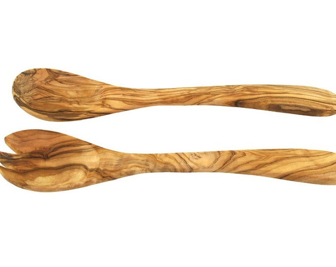 Salad cutlery approx 36 cm olive wood solid rustic handmade unique wood