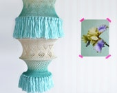 REDUCED! OMBRE Large Vintage Macrame Lampshade Off white Mint Green 70s