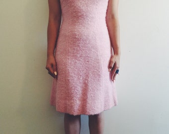 Vintage Baby Pink Boucle A-Line Dress