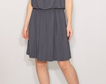 Gray bridesmaid dress Short grey dress Spaghetti strap dress