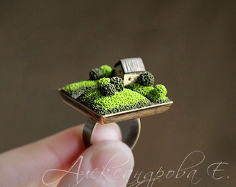 Miniature house ring Fairy house ring Funny ring Tiny landscape ring Tiny house Polymer clay miniature Fairy garden house Small house ring