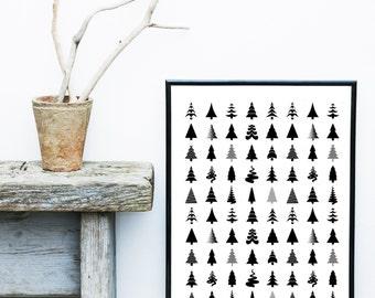 Scandinavian Art,  Printable Art, Scandinavian Trees, Modern Art, Wall Decor, Wall Art, Digital Download, Poster