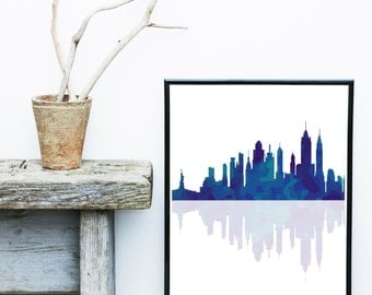 New York Poster, Printable Art, New York Skyline, New York City,  Wall Decor, Wall Art, Instant Download, Navy Blue