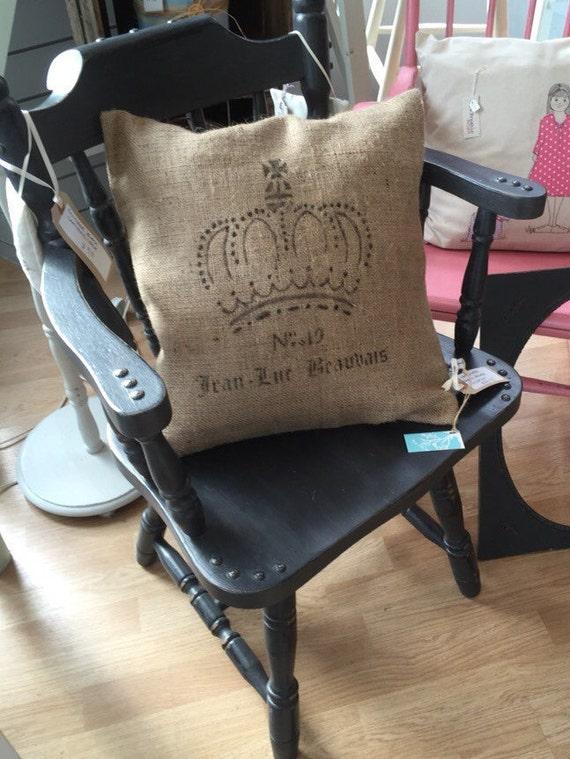 French Style Rustic Burlap Cushion // French Writing on Cushion // Hessian Jute Cushion // Crown Stenciled Cushion // Hand Printed Fabric