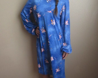1960s Cute Blue Long Sleeved Dress Large