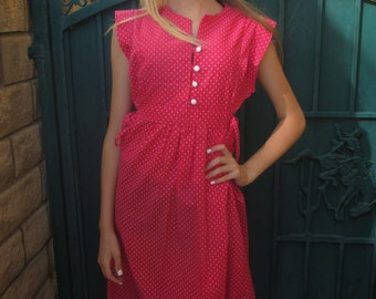 60's/70's Darling Dark Pink Polka Dot/White Button Dress/ Tied Sides Size Small/ Medium