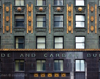 Chicago Art Print, Carbide and Carbon Building, Chicago Photo, Architecture Photo, Art Deco Architecture, Gold, Green and Gold, Art Deco