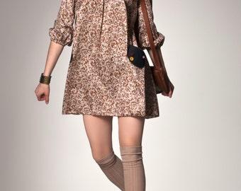 Hippie dress boho Paisley dress 70s mini dress 70s pleats dress pattern dress beige folding 3/4 sleeve handmade jeans bags women girls S / M