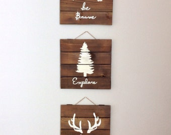 Reclaimed wood planked art- Set of 3 - woodland / rustic - nursery / kids - antlers - tree - arrows -