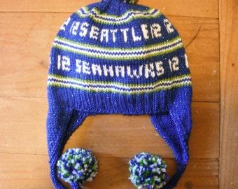 Seattle Seahawk Glitter Earflap Hat