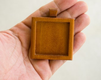 """Extra Large Pendant Blank - Handcrafted by ArtBASE - Mahogany - 1.5"""" - 38 mm - Cavity"""