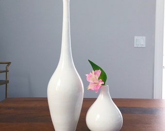 MOVING SALE Large White Porcelain Bottle Tall Modern