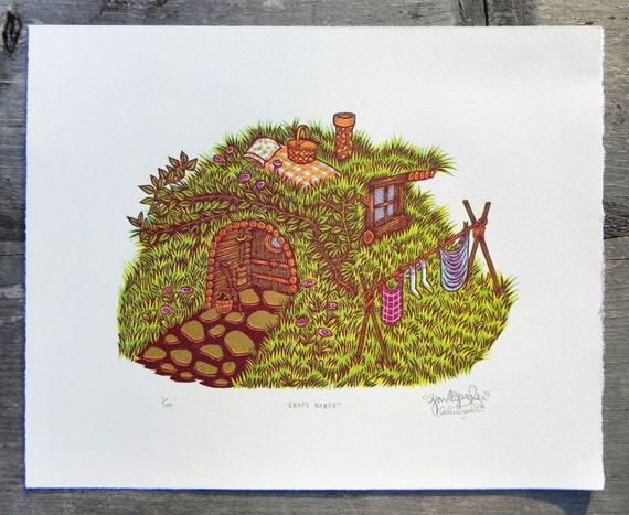 Woodcut Print, Woodblock Print Grass House by Tugboat Printshop