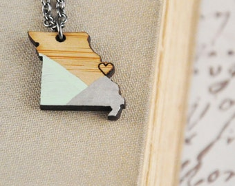 CUSTOM COLOR / Missouri State Necklace / Saint Louis / Heart /  Modern Jewelry